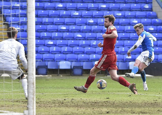 Sammie Szmodics makes it 3-0 for Posh against Accrington Stanley. Photo: David Lowndes.