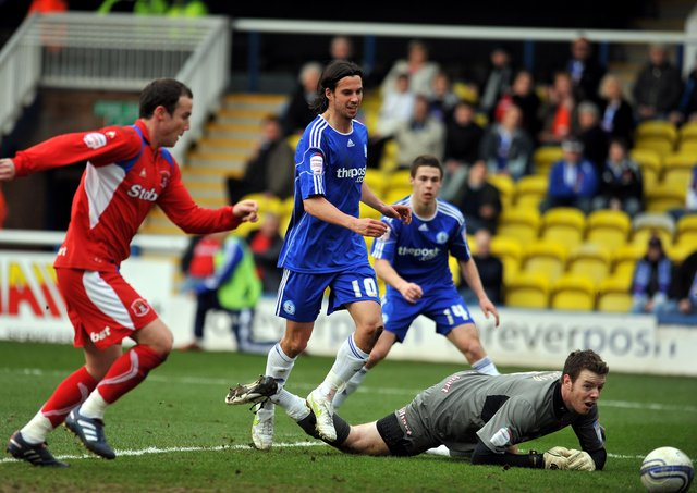 George Boyd opens the scoring in a 6-0 Posh win over Carlisle in 2011.