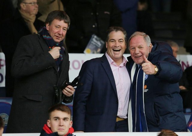Posh co-owner Stewart 'Randy' Thompson (centre) with fellow co-owner Dr Jason Neale (left) and director of football Barry Fry.