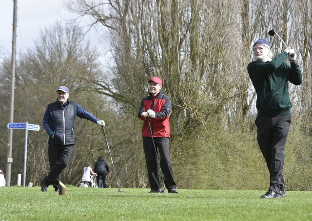 Simon Taylor tees off for the first time since December at Orton Meadows.