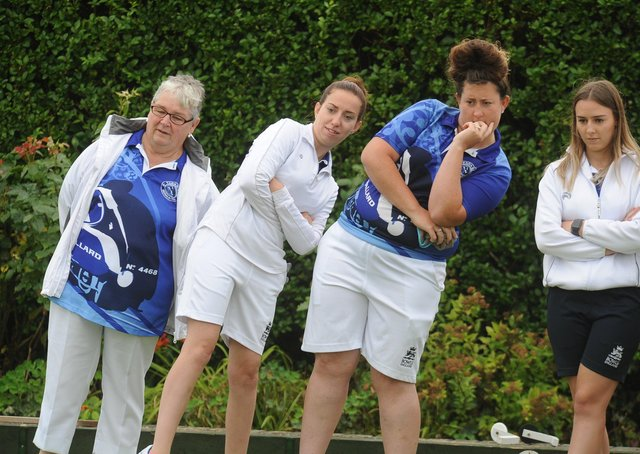 A scene from a Hunts County bowls final in 2019.