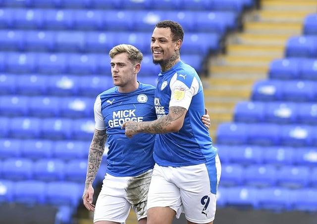 Sammie Szmodics (left) with Jonson Clarke-Harris during the 7-0 Posh win over Accrington Stanley. Photo: David Lowndes.