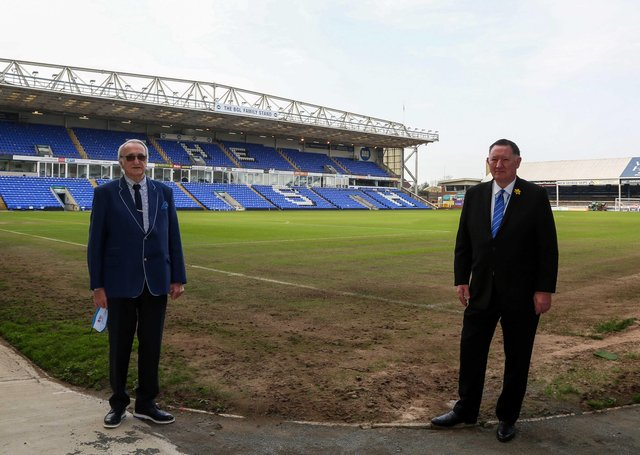 Peterborough City Council leader Cllr John Holdich and Posh chief executive Bob Symns on the day the contracts were signed