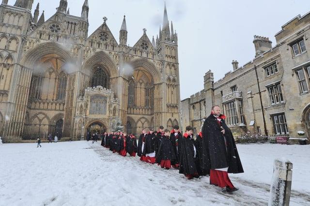 Snow at Peterborough Cathedral at Christmas
