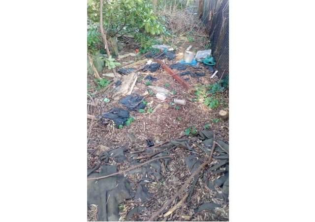 Rubbish fly-tipped in Muskham woods.