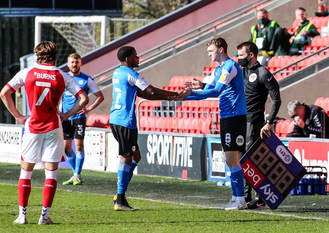 Posh midfielder Jack Taylor (right) makes a welcome return from injury after a seven-game absence. He replaced Reece Brown at Fleetwood. Photo: Joe Dent/theposh.com.