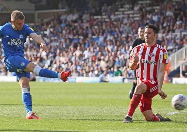 Matt Godden equalises for Posh against Sunderland at London Road on Easter Monday, 2019.
