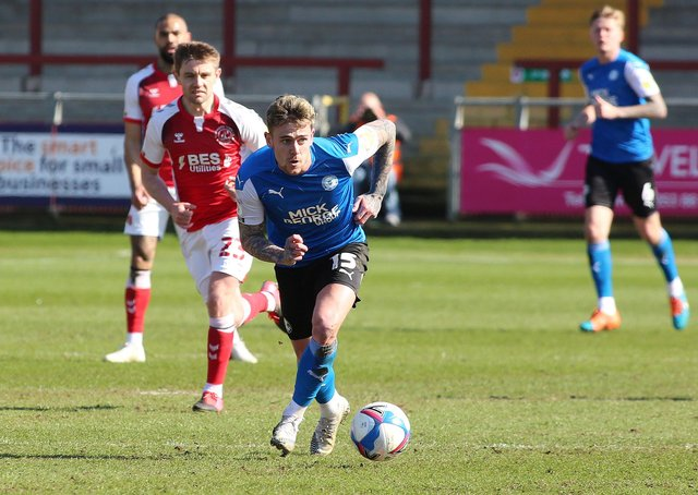 Sammie Szmodics in action for Posh at Fleetwood on Good Friday. Photo: David Lowndes.