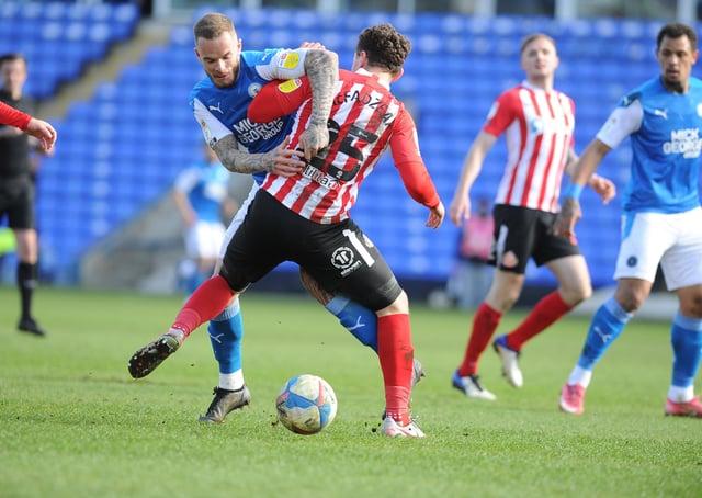 Joe Ward in action for Posh against Sunderland. Photo: David Lowndes.
