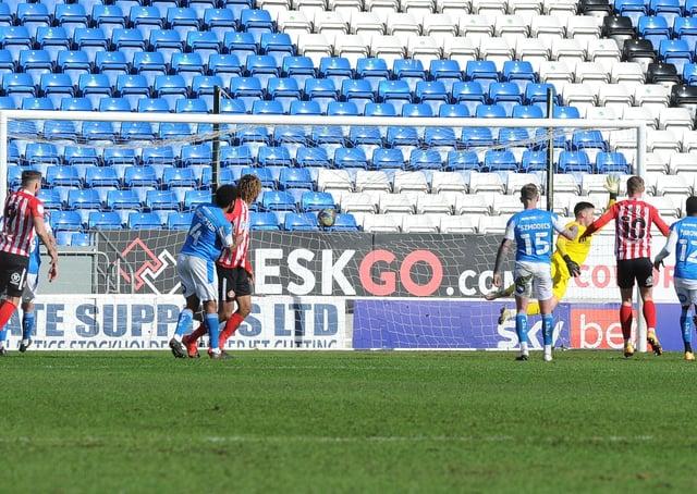 Aiden McGeady's classy free kick flies past Posh goalkeeper Christy Pym for the Sunderland equaliser. Photo: David Lowndes.