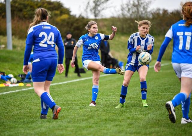 Action from Posh Girls Under 16s v Eynesbury Rovers. Photo: James Richardson.