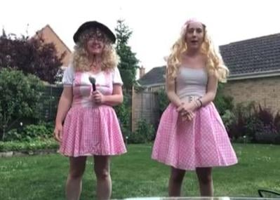 Hannah Thompson (right) with mum Julie doing their dance-a-thon