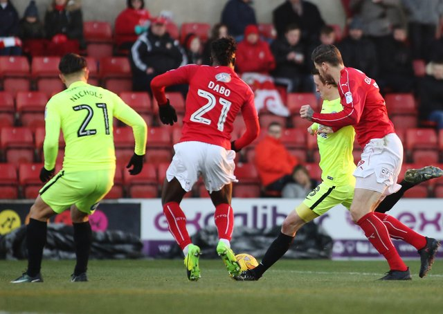 Chris Forrester scores the only goal of the game for Posh at Swindon in January, 2017.