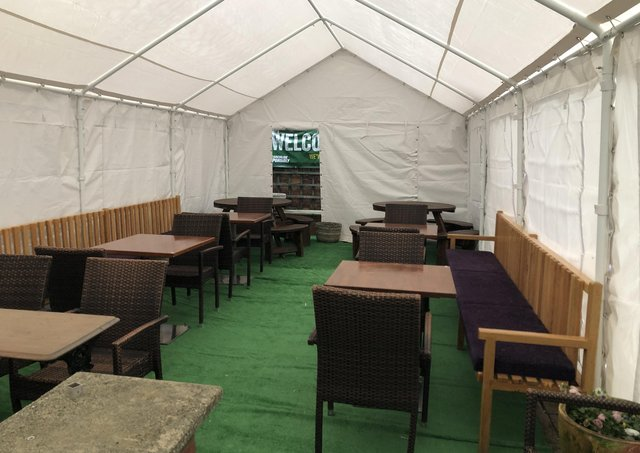 The marquee up for outdoor hospitality at the Yard Of Ale, Woodston