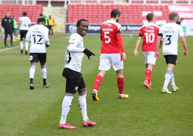 Siriki Dembele of Peterborough United celebrates scoring the opening goal against Swindon Town. Photo: Joe Dent/theposh.co.m