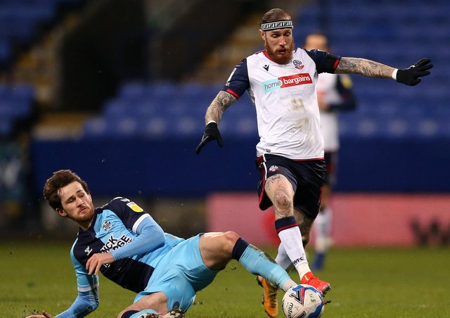 Marcus Maddison in action for Bolton against Cambridge United.