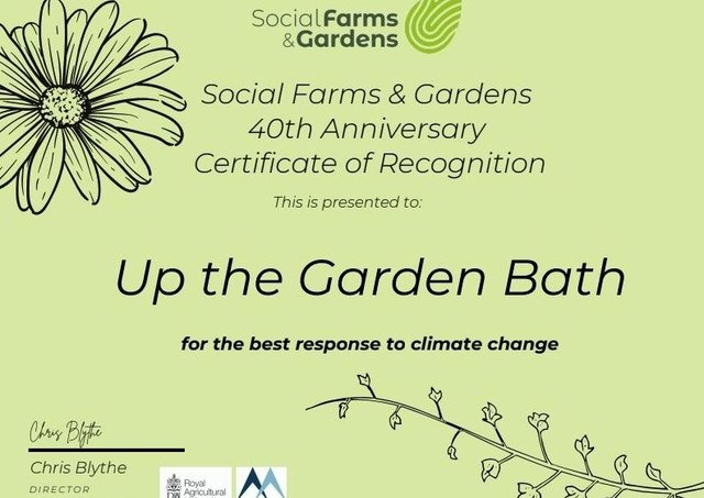 Up the Garden Bath have been awarded a certificate of recognition from Social, Farms and Gardens.