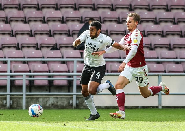 Nathan Thompson gets away from Danny Rose of Northampton Town on his way to scoring the opening goal of the game at Sixfields in October.
