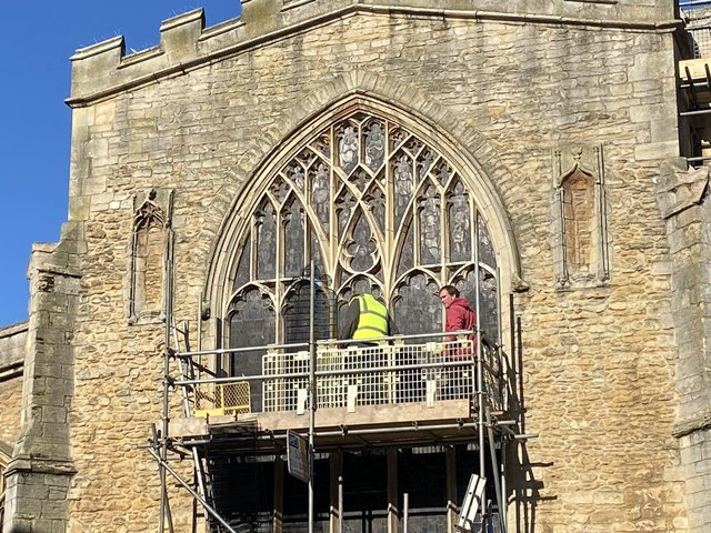 The work to protect the windows has begun. Pic: St John's Church
