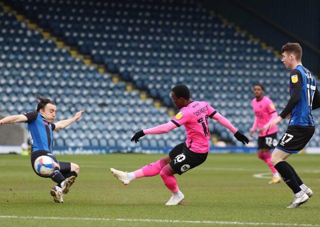 Siriki Dembele scoring for Posh against Rochdale.