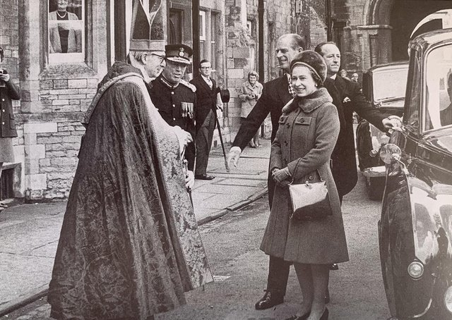 The Queen attending the Maundy service in Peterborough on her first visit to the city.