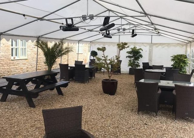 The Crown Inn  at Elton has reopened with a marquee at the back and seating at the front