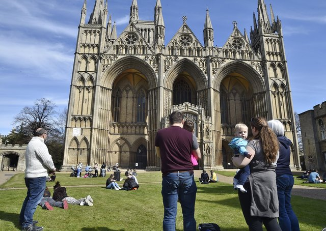 People gathered to observe a minute's silence in the Cathedral Precincts in memory of the Duke of Edinburgh. Picture: David Lowndes