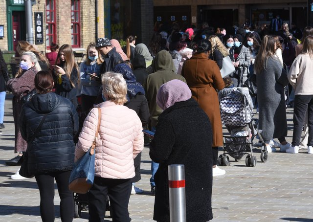 City Centre  Covid 19 lockdown restrictions ease on April 12th.Queues for Primark EMN-211204-124011009
