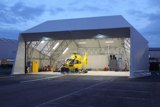 The air ambulance in the new hanger