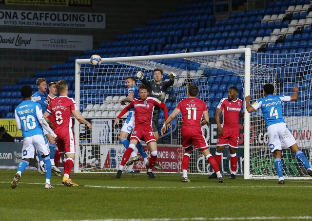 Gillingham defend a Posh corner. Photo: Joe Dent/theposh.com.
