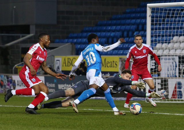 Siriki Dembele wasted this great chance to score for Posh against Gillingham. Photo: Joe Dent/theposh.com.