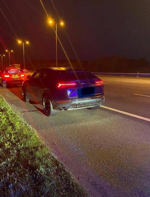 The Lamborghini was pulled over last night