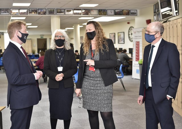 Left to right: Peterborough MP Paul Bristow, CEO of TDA Education Trust Julie Taylor, Principal Lynn Mayes and Schools minister Nick Gibb.