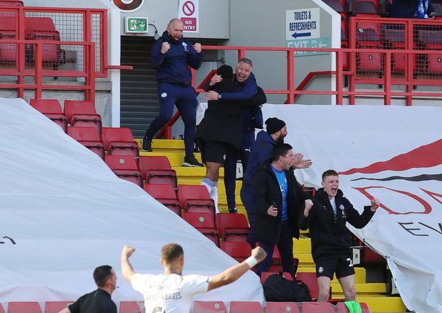 Posh boss Darren Ferguson celebrates victory at Charlton. Photo: Joe Dent/the.com.