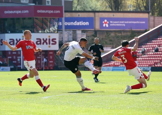 Jonson Clarke-Harris of Peterborough United scores  fror Posh against Charlton. Photo: Joe Dent/theposh.com.