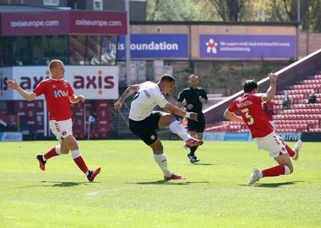 Jonson Clarke-Harris scores for Posh against Charlton at the Valley. Photo: Joe Dent/theposh.com.