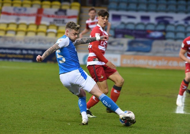 Sammie Szmodics in action for Posh against Doncaster.