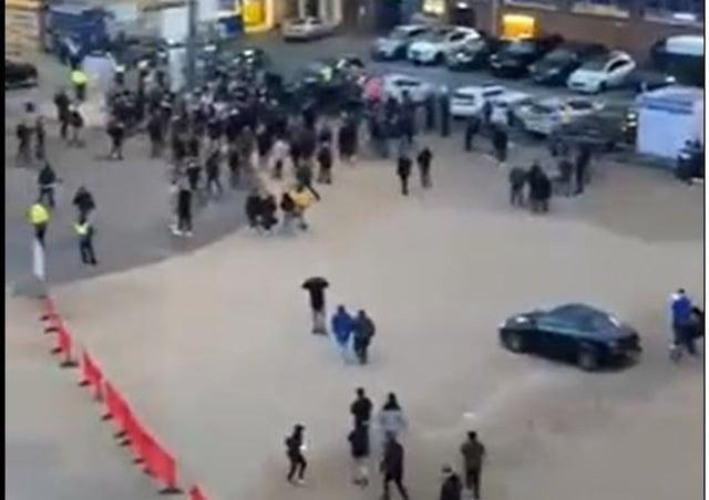 Posh fans gather outside the Weston Homes Stadium on Tuesday (April 27).
