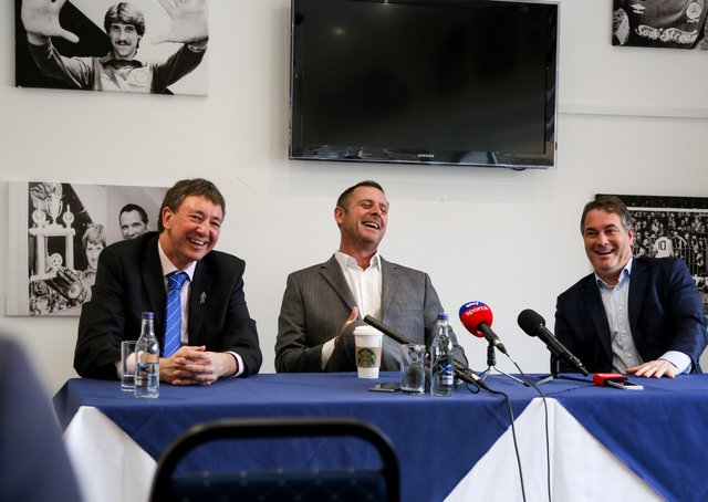 Posh co-owners from left Dr Jason Neale, Darragh MacAnthony and Stewart 'Randy' Thompson.