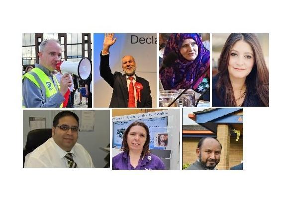 Suspended Labour councillors (clockwise from top left): Angus Ellis, Ansar Ali, Aasiyah Joseph, Shabina Qayyum, Mohammed Jamil, Samantha Hemraj and Mahboob Hussain
