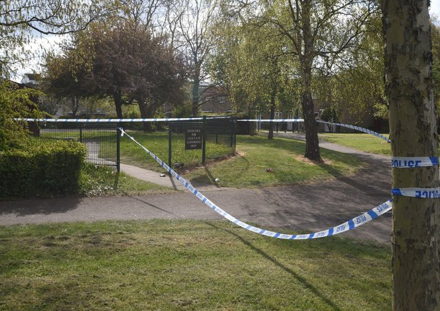 Police tape cordons off an area of  St John's Street, Eastgate on Saturday.