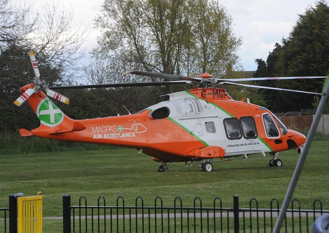 The Magpas Air Ambulance lands in Cardea today (May 4).