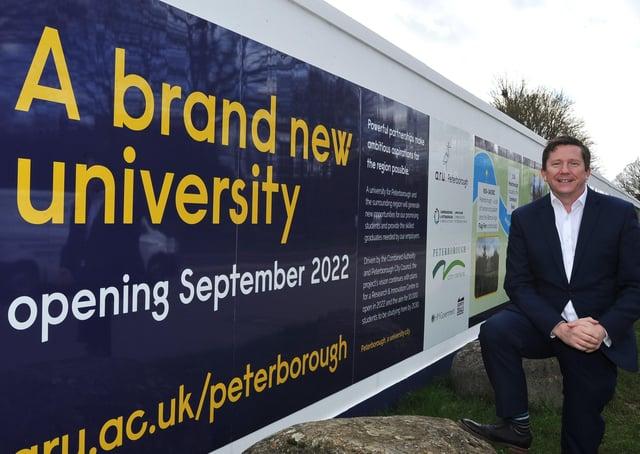 Professor Ross Renton, Principal of ARU Peterborough, at the site of the new university at Bishop's Road.