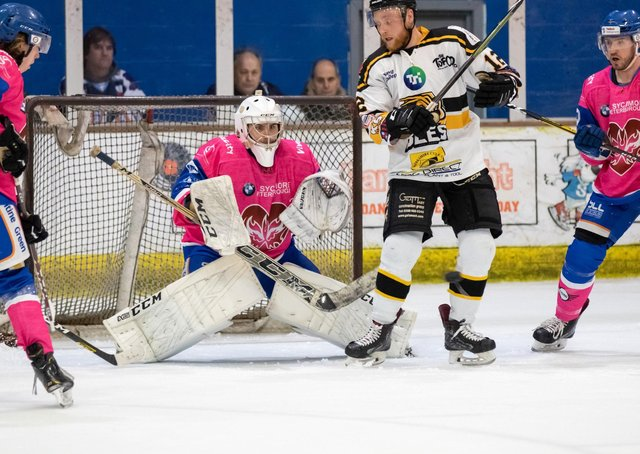Netminder Jordan Marr in action for Peterborough Phantoms. Photo: Tom Scott.