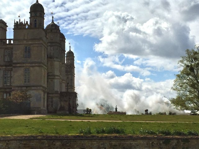 Filming for The Flash at Burghley House