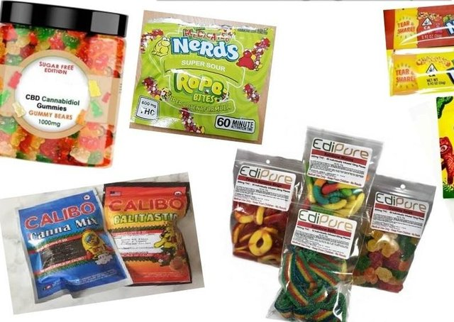 Examples of the sweets and their packaging