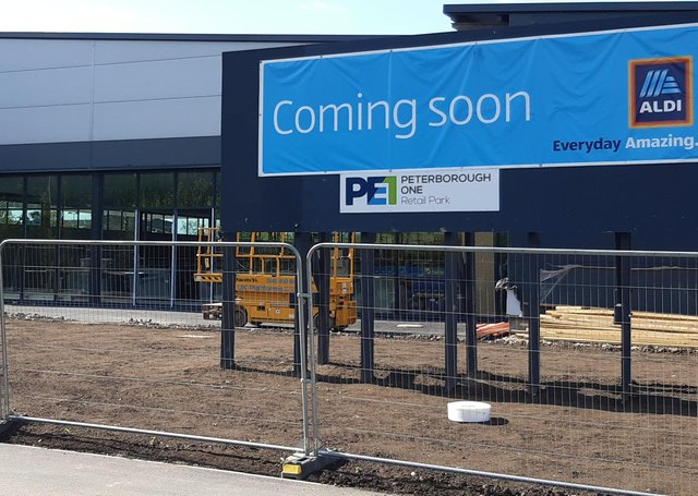 The new Aldi store at Peterborough One Retail Park is nearing completion.