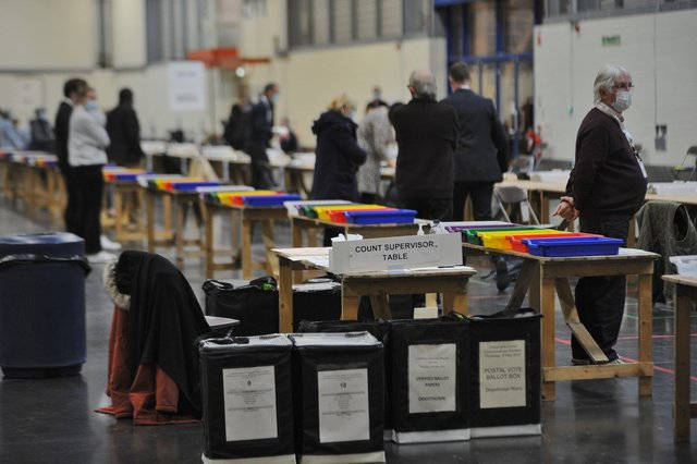 Election verification at the East of England Arena.