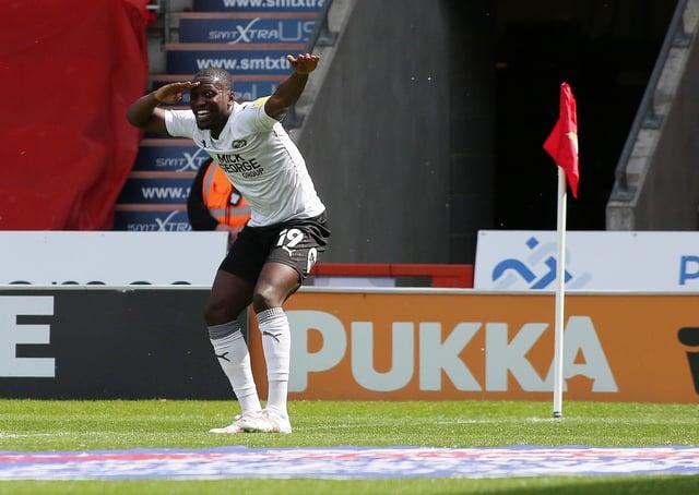 Idris Kanu of Peterborough United celebrates his goal. Photo: Joe Dent/theposh.com.