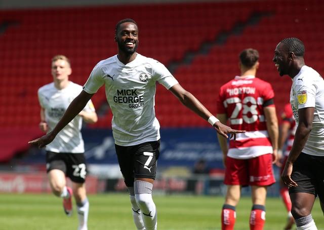 Mo Eisa of Peterborough United celebrates  his goal against Doncaster Rovers. Photo: Joe Dent/theposh.com.